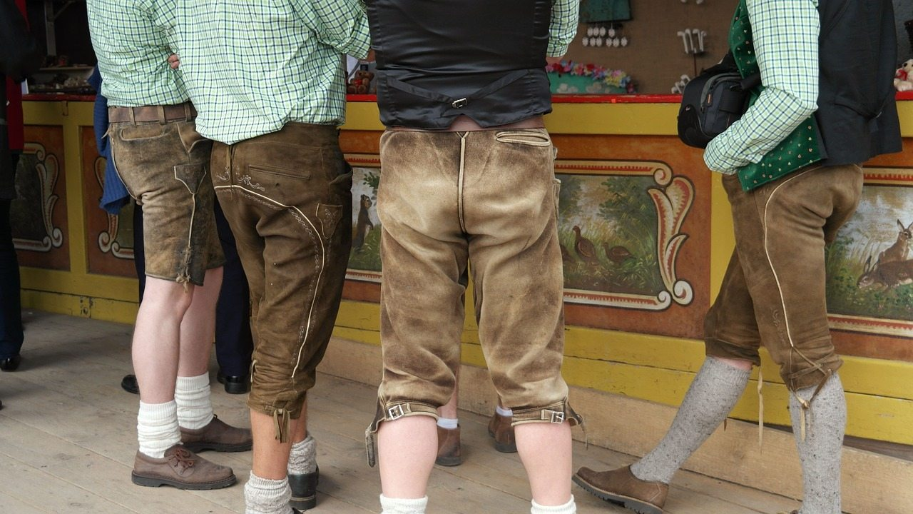 Lederhosen being worn at Oktoberfest in Munich, Germany