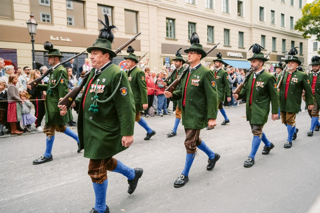 Traditional Bavarian outfits during the annual Trachten parade in Munich
