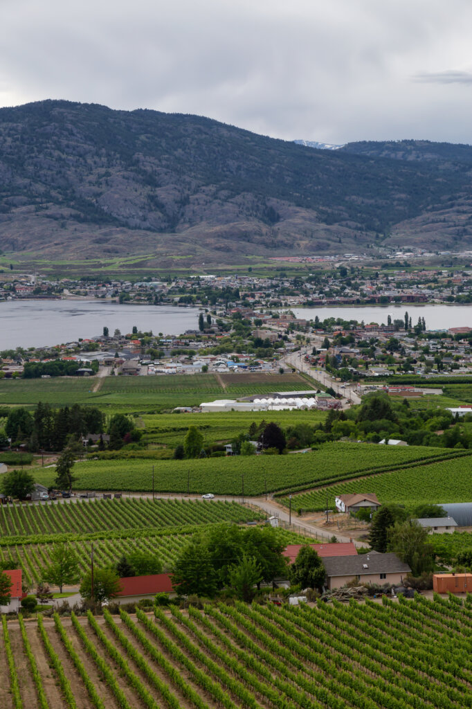 Aerial view of Osoyoos, BC, Canada with the town in view