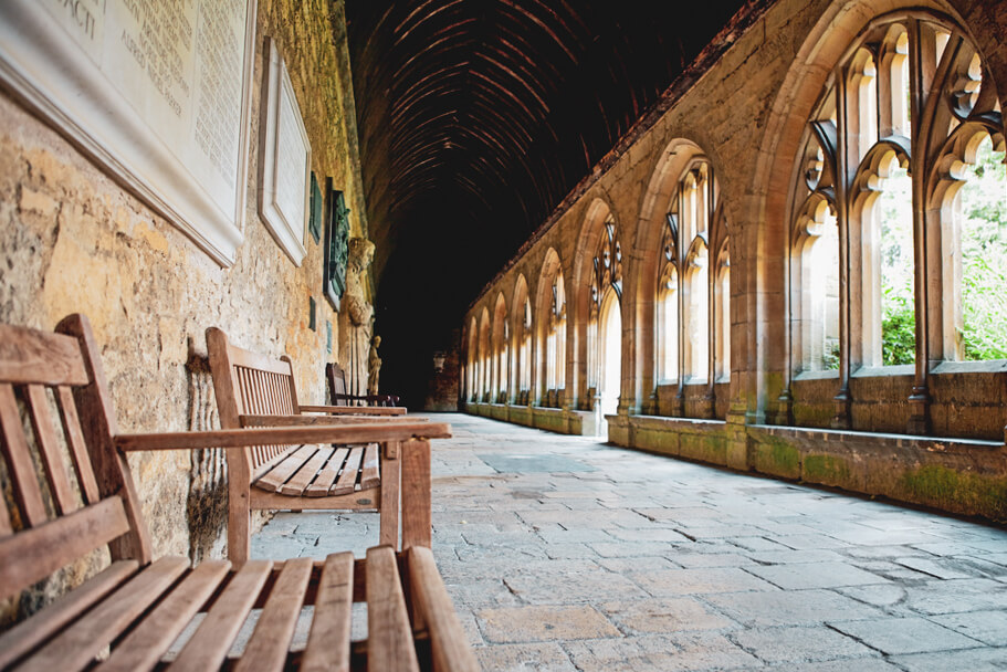 New College, Oxford cloister, a filming location for Harry Potter