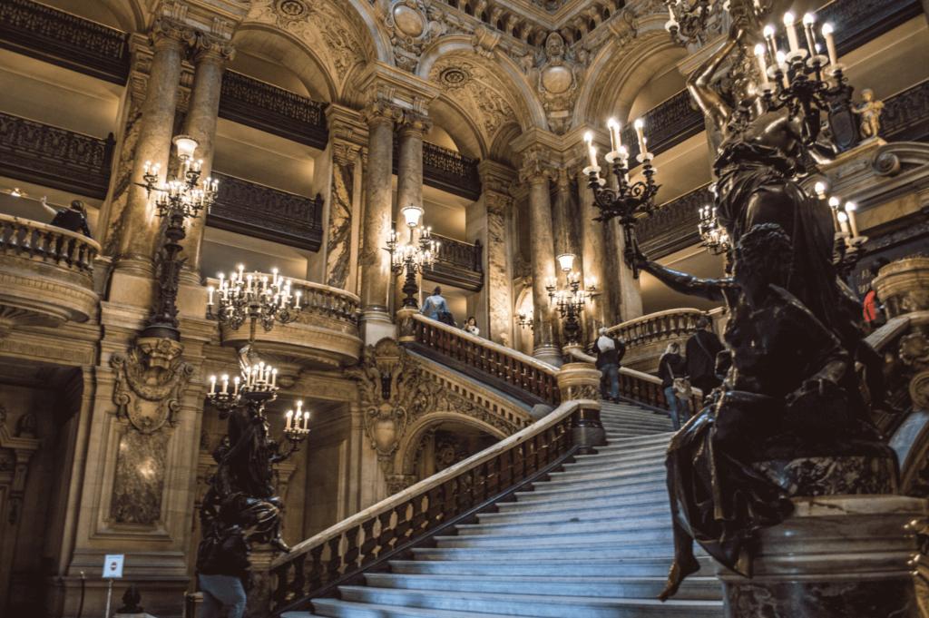 The beautiful staircase at the Palais Garnier in Paris, France