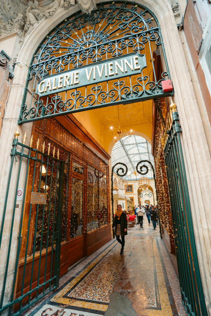 Entrance of Galerie Vivienne in Paris at Christmas time