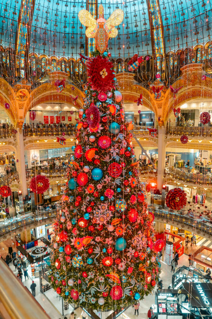 Giant Christmas tree at Galeries Lafayette in Paris, France
