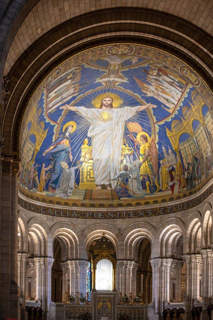 Interior of the Sacre-Coeur Basilica in Paris
