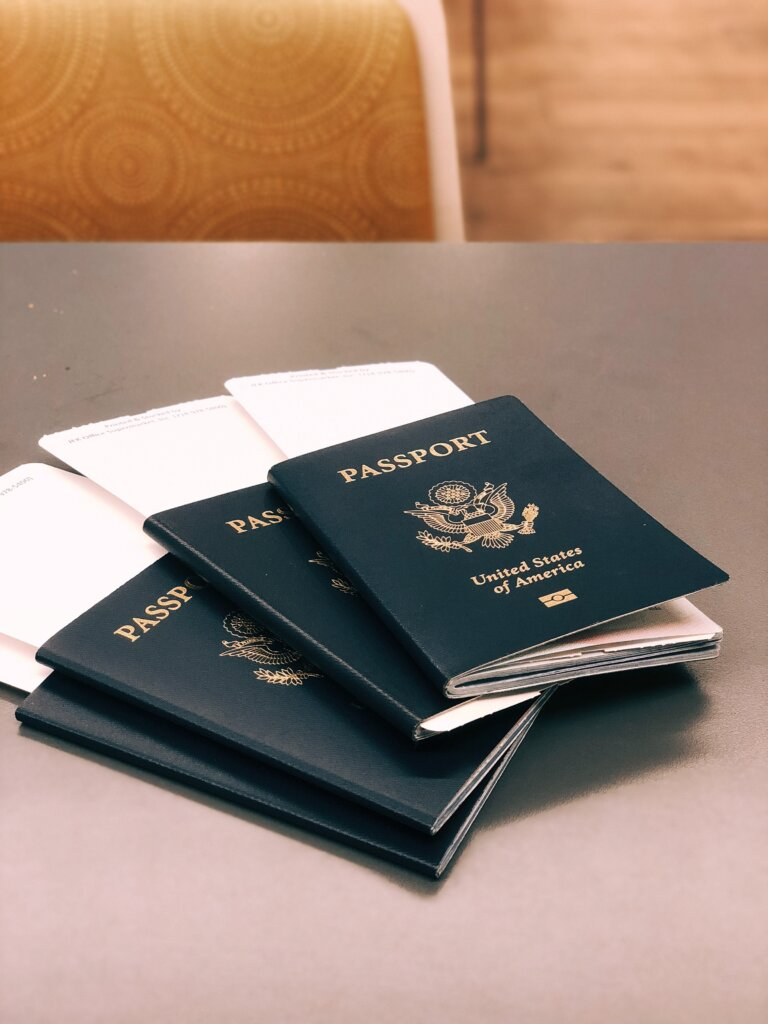 Passports with boarding passes on a table