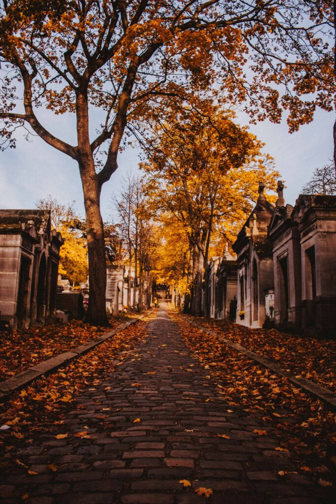 Autumn at Pere Lachaise cemetery in Paris, France