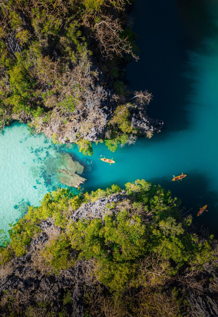 Overhead view of blue lagoon in the Philippines