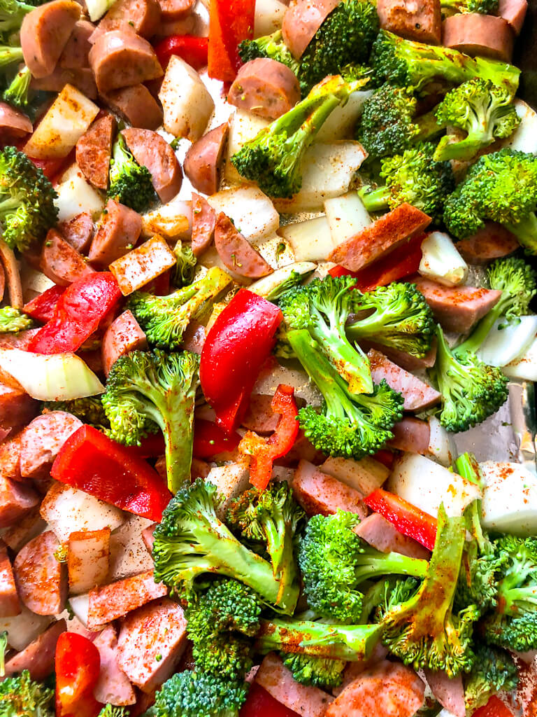 Smoked chicken sausage and roasted veggies