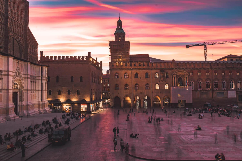 Sunset in Piazza Maggiore, Bologna, Italy