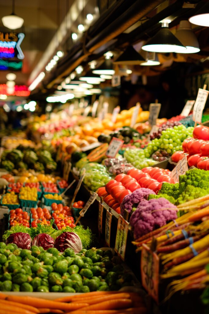 Fresh fruits and vegetables on display at Pike Place Market