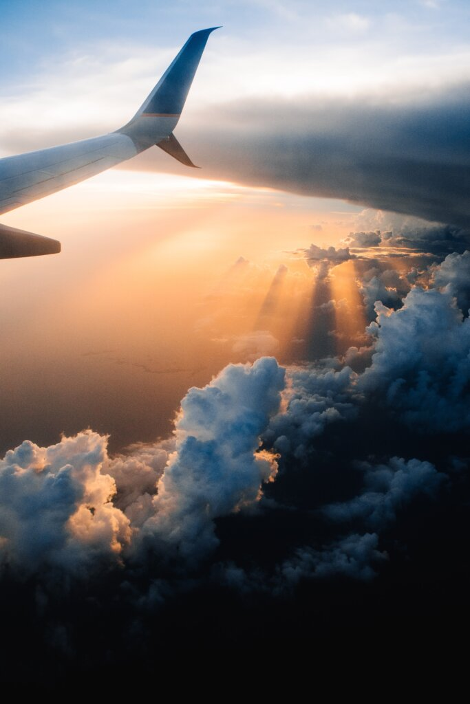 Plane view at sunset