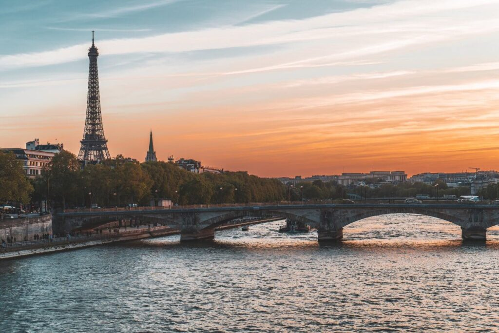 Sunset along the Seine with the Eiffel Tower in the distance