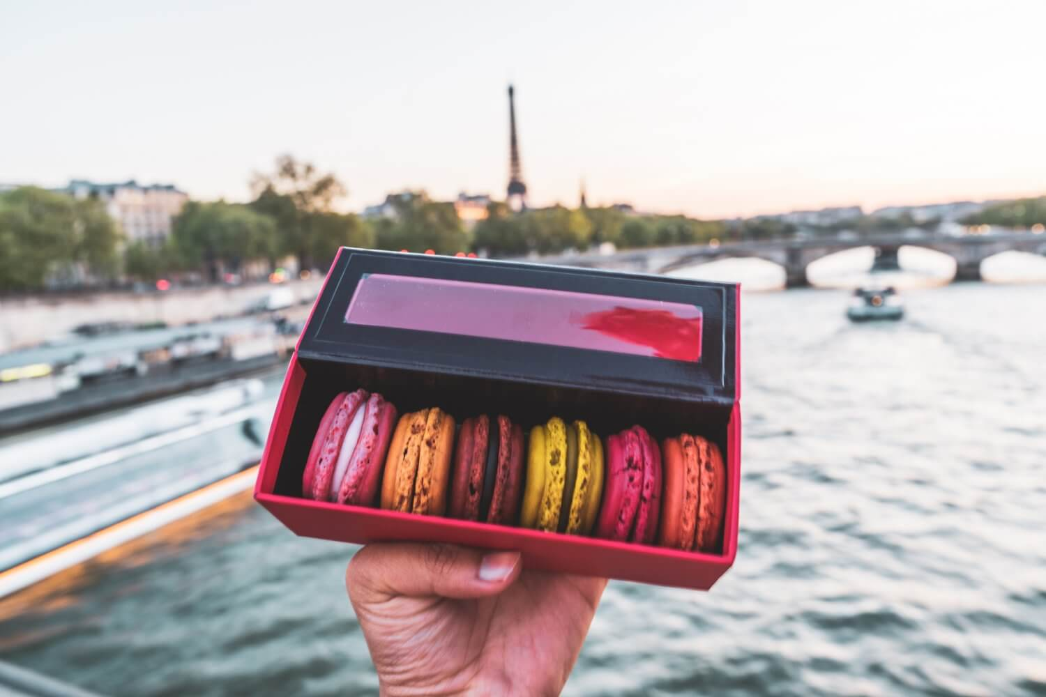 Colourful macarons held out in front of the Seine in Paris, France