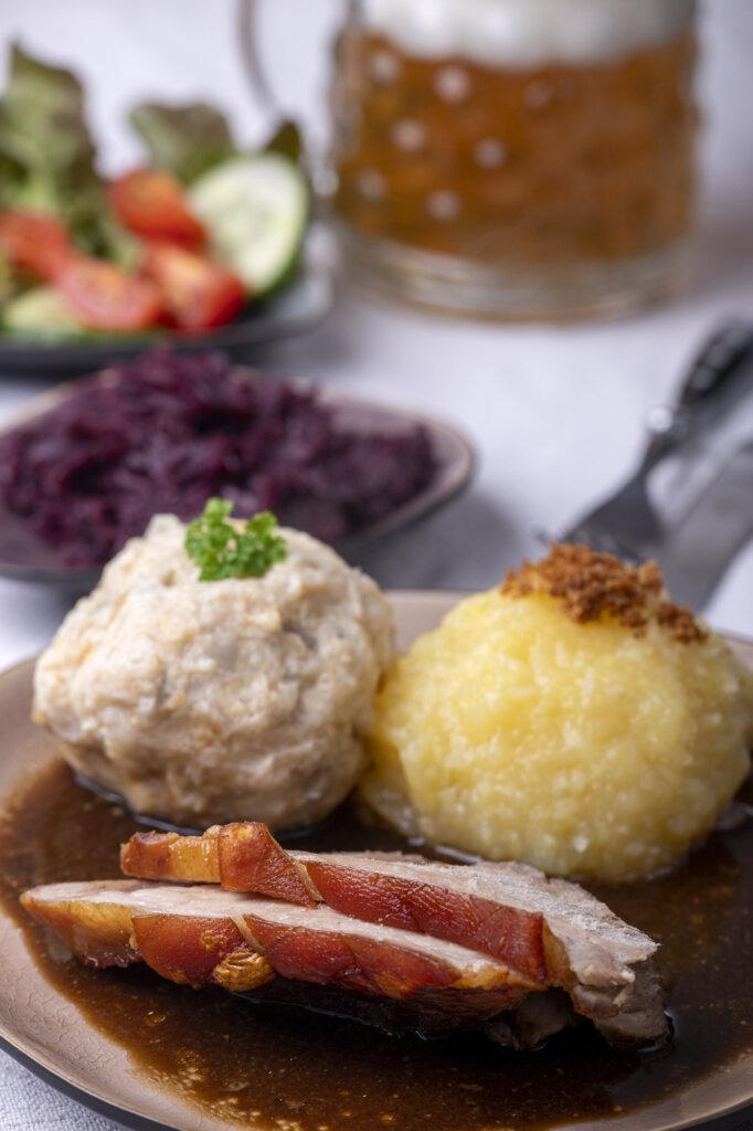 German dumplings with roasted pork