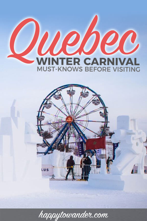 A practical must-read guide to the Quebec Winter Carnival in Quebec City, Canada. Includes wonderful things to do in Quebec City in winter, snow sculptures and fun winter activities like ice skating. If you're visiting Canada and need Quebec City travel tips, this is a must read! #Quebec #Canada #Travel