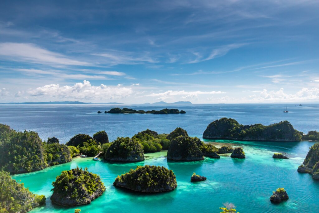 View from above of mini islands at Raja Ampat