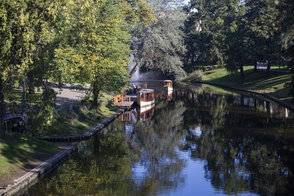 Boat on a river in Bastejkalns Park in Riga, Latvia