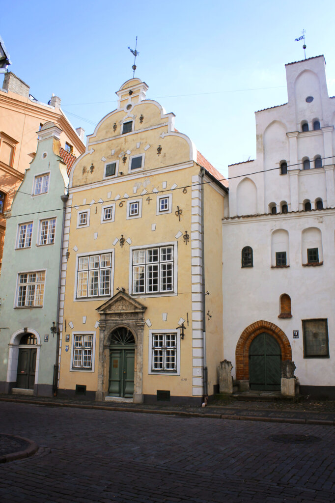Three colourful buildings in Riga Old Town