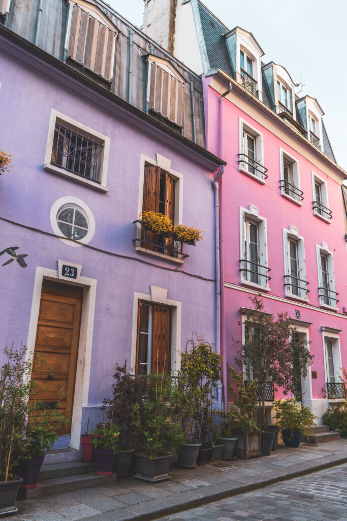 Pink and purple house on Rue Cremieux in Paris, France