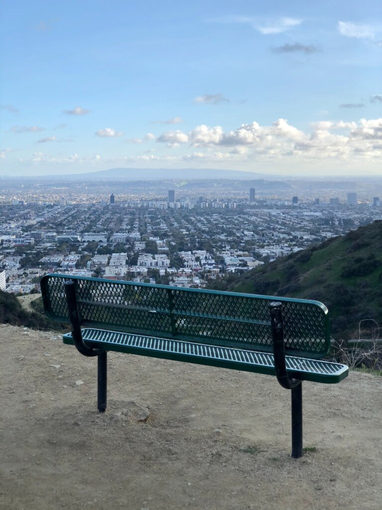 Bench overlooking beautiful views of LA from Runyon Canyon Park
