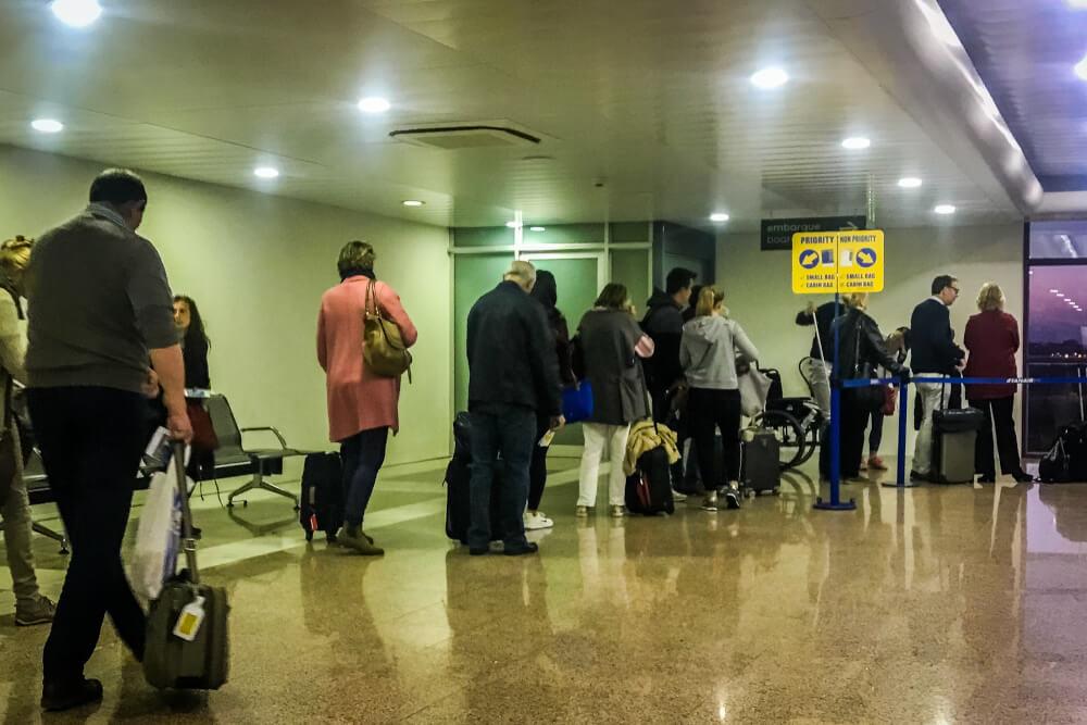 People waiting to board Ryanair flight