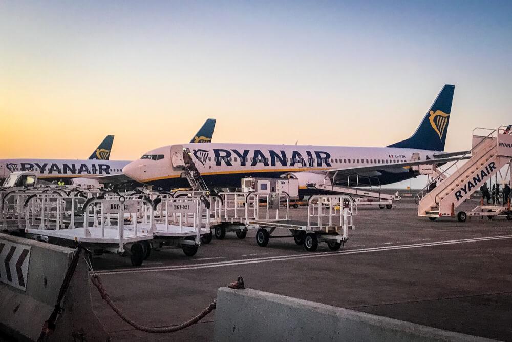 Ryanair planes at sunset