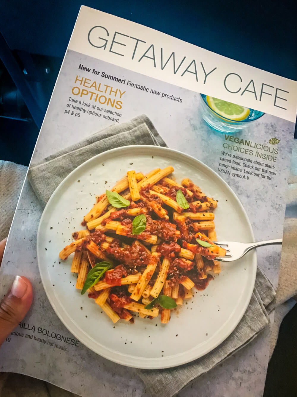 Cover of RyanAir food menu with a plate of pasta on the cover