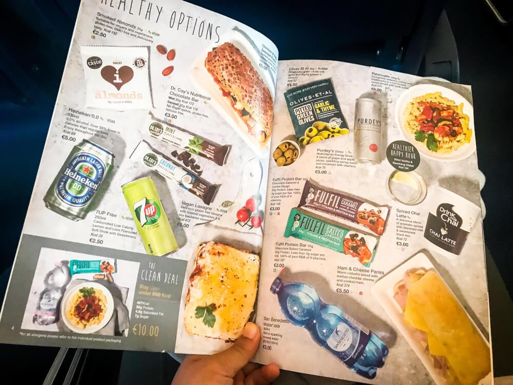 RyanAir Food menu on board