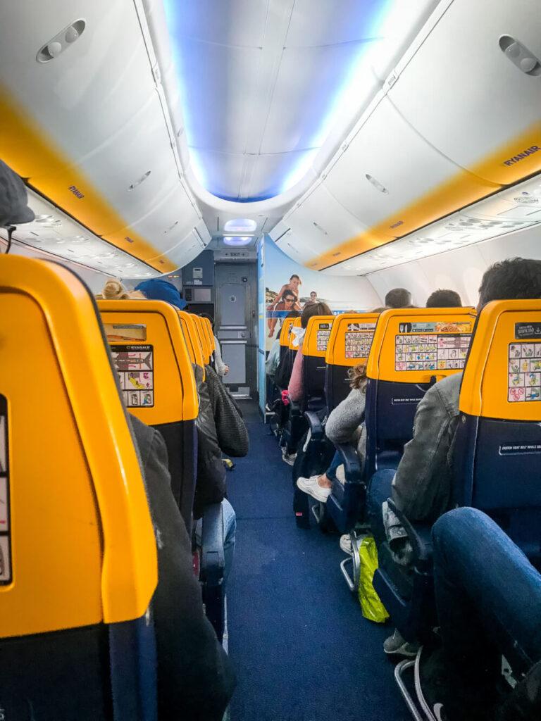 Looking down the aisle in a RyanAir flight