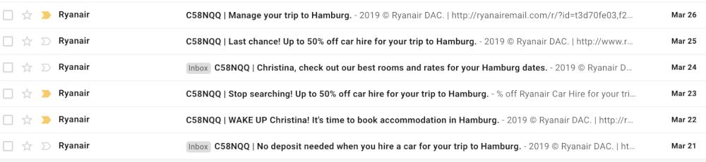 Screenshot of email inbox full of RyanAir emails