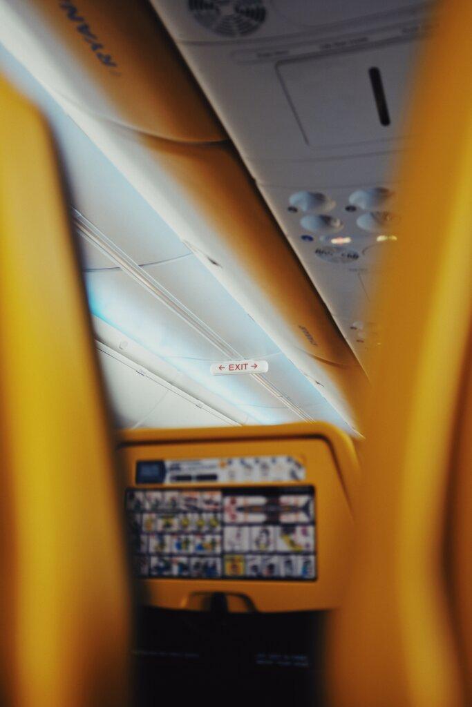 Inside view of RyanAir plane between seats