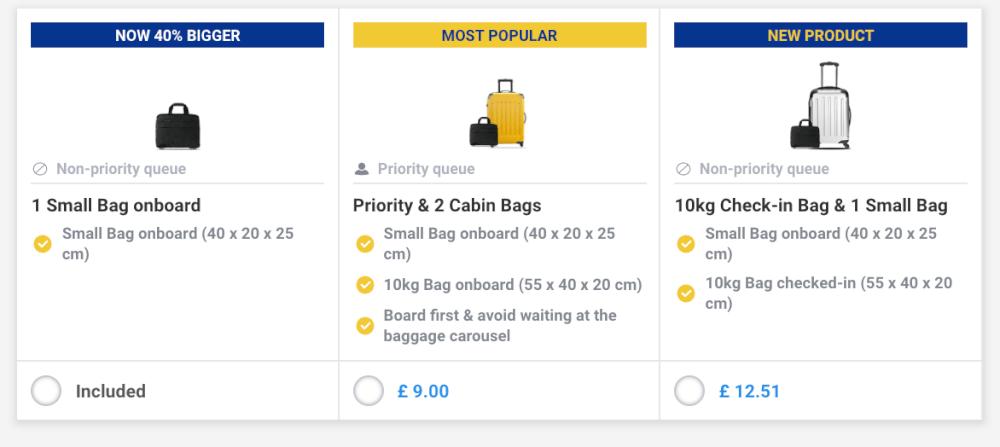 Screenshot of RyanAir baggage options