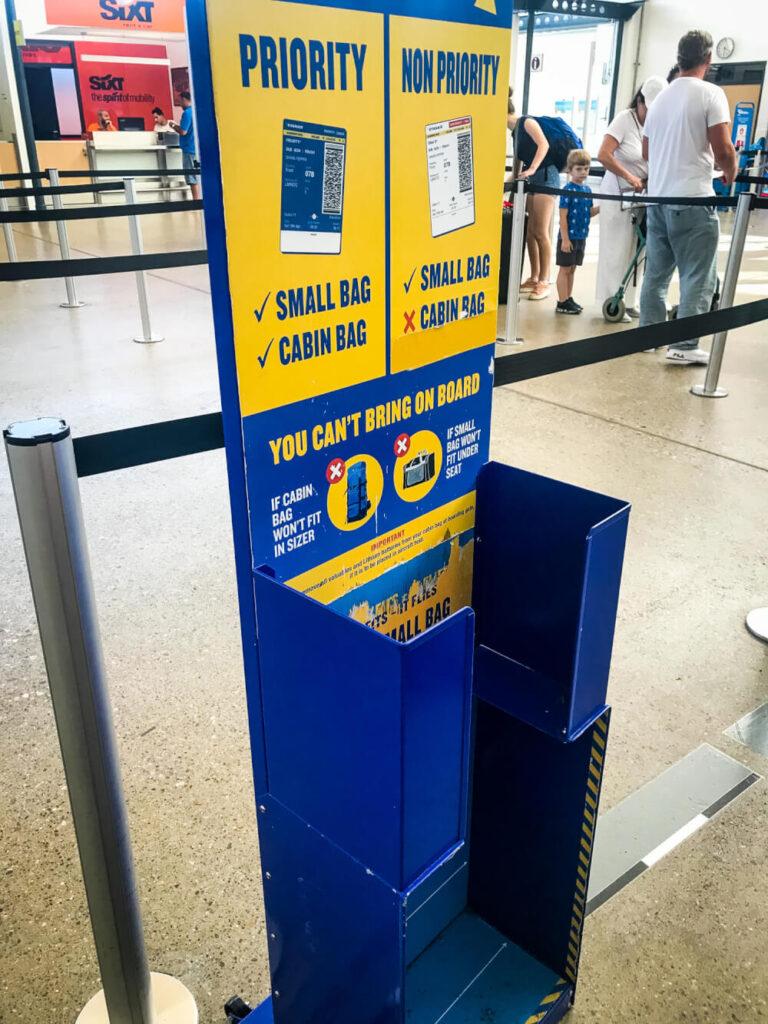 RyanAir baggage sizer at an airport