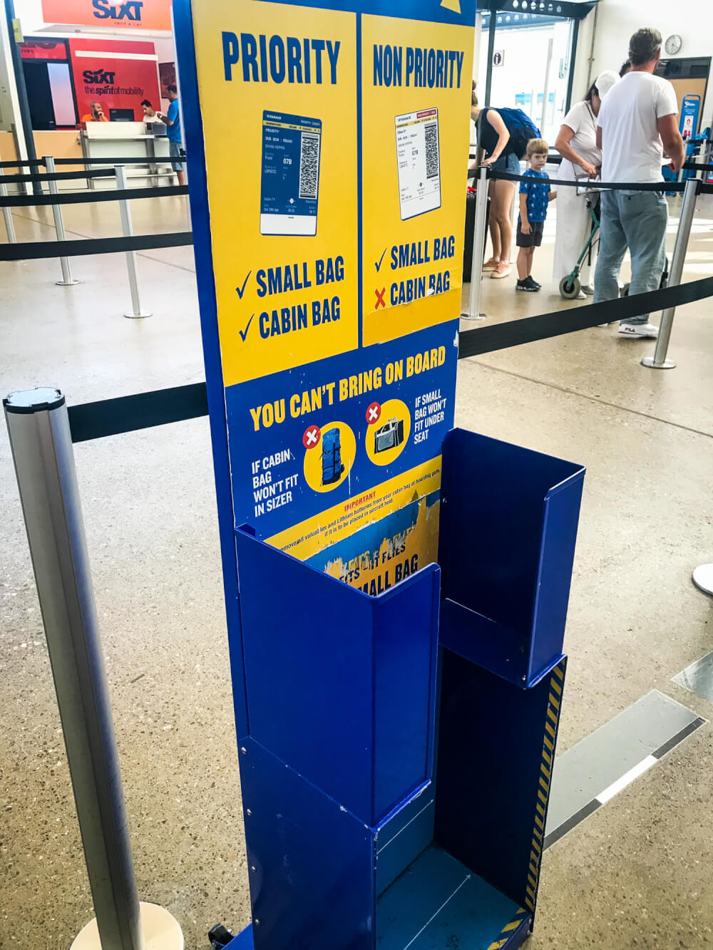 RyanAir size restriction checker at the airport