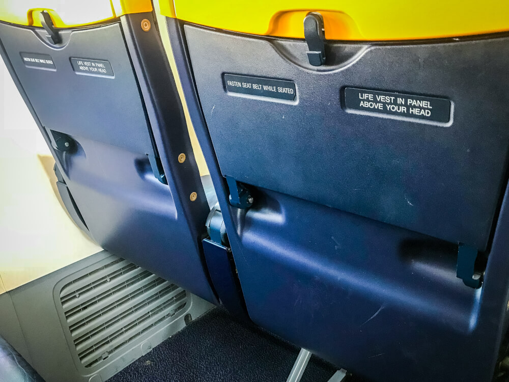 Close-up of RyanAir seats on the back