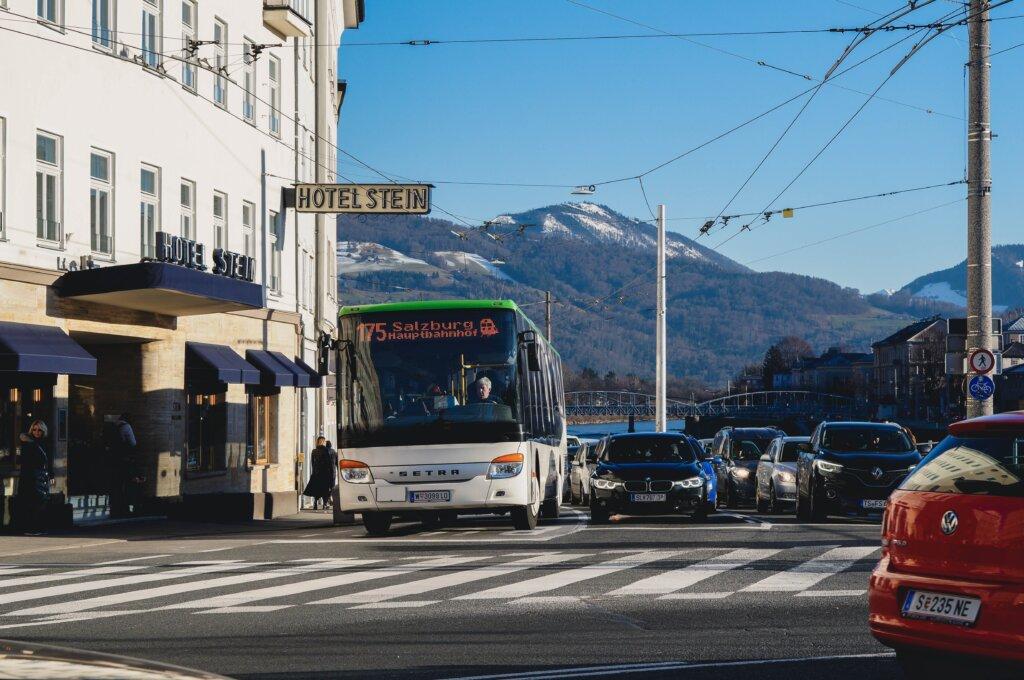 Bus in Salzburg, Austria headed for the train station