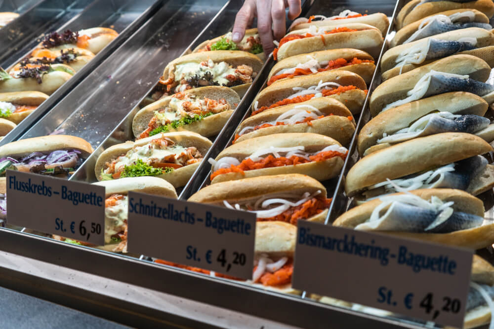 Seafood sandwiches for 4-6 euros at Oktoberfest