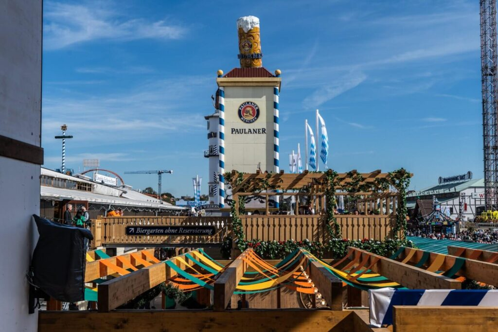A view over the Oktoberfest grounds in Munich, Germany.