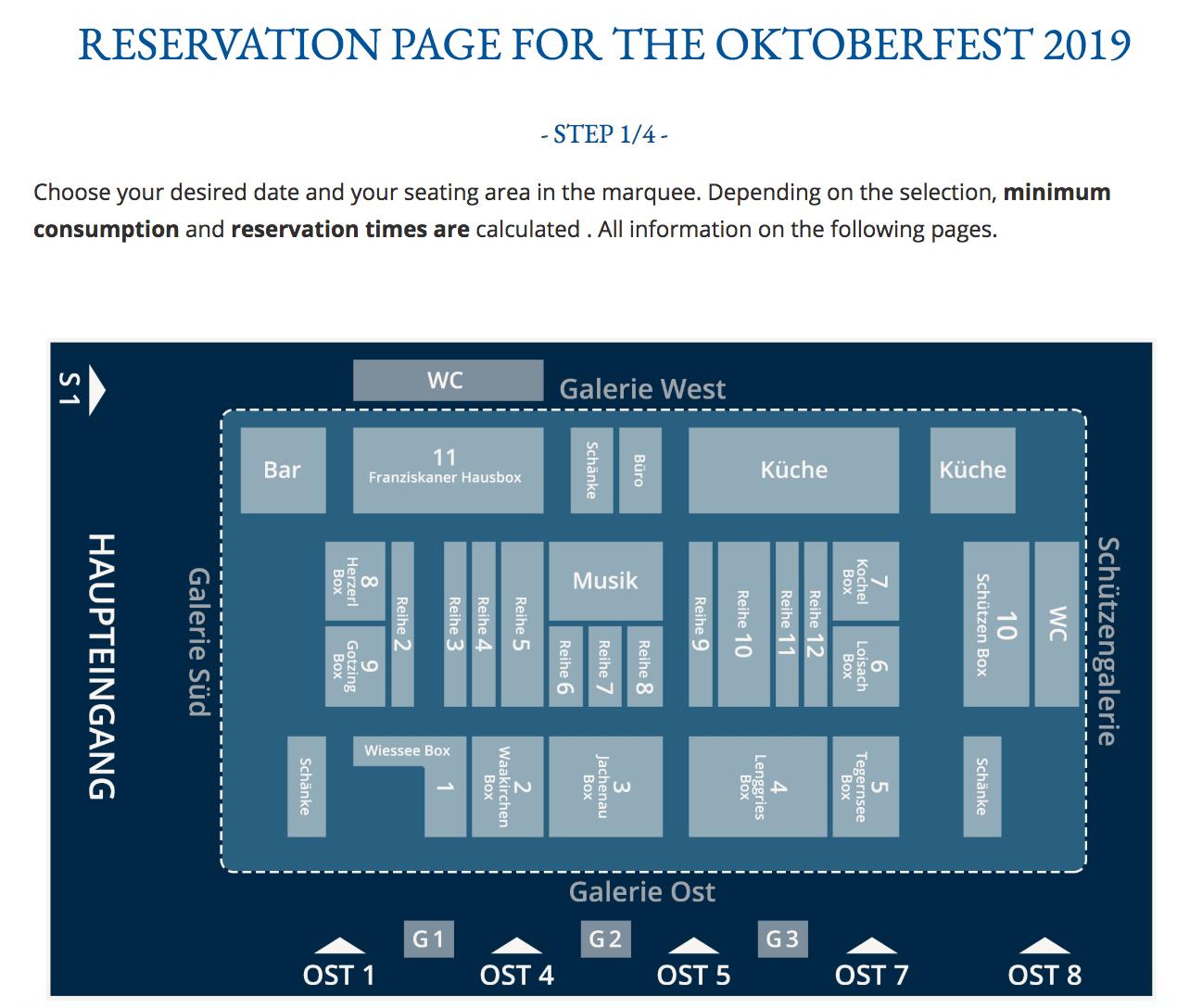 Reservation page for the Schützen-Festzelt tent at Oktoberfest
