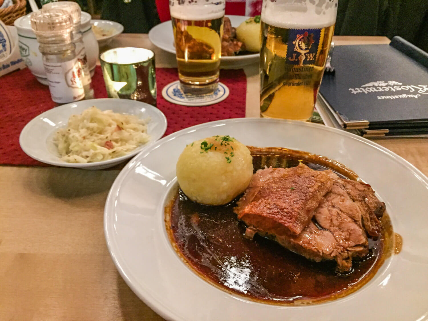 Schweinsbraten and sauerkraut at Augustiner Klosterwirt