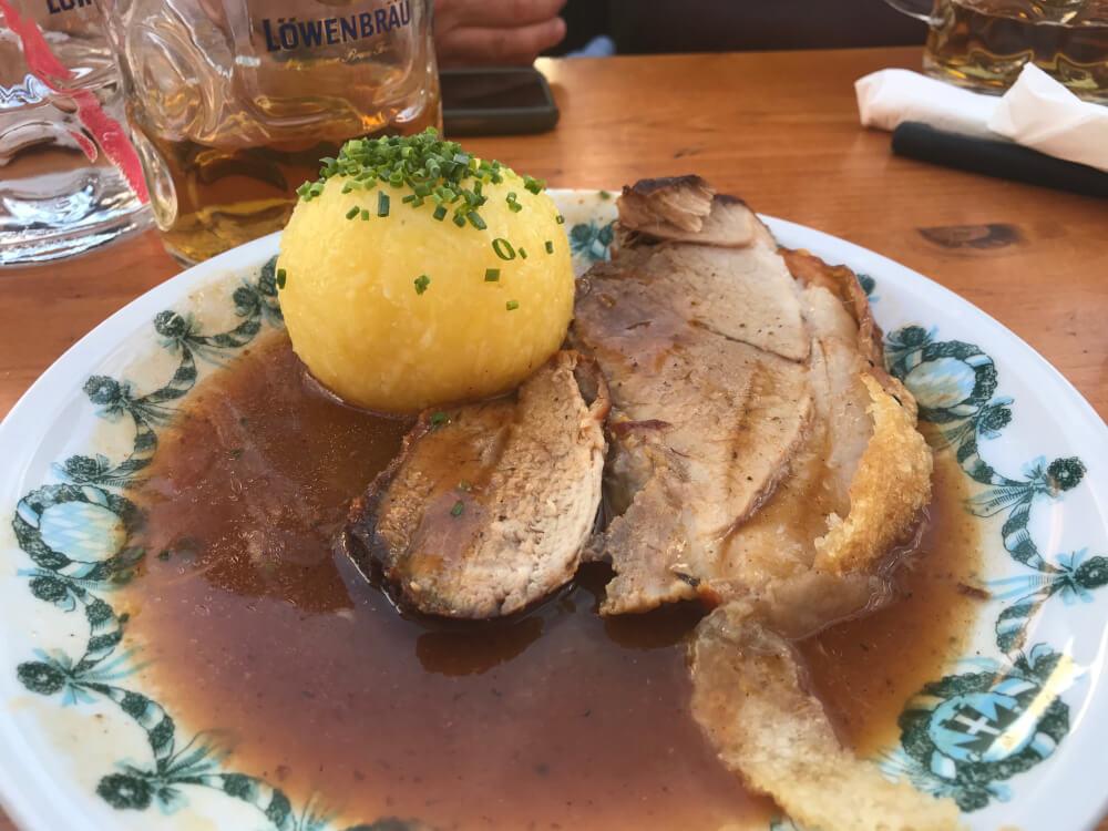 Roast pork dish at Oktoberfest