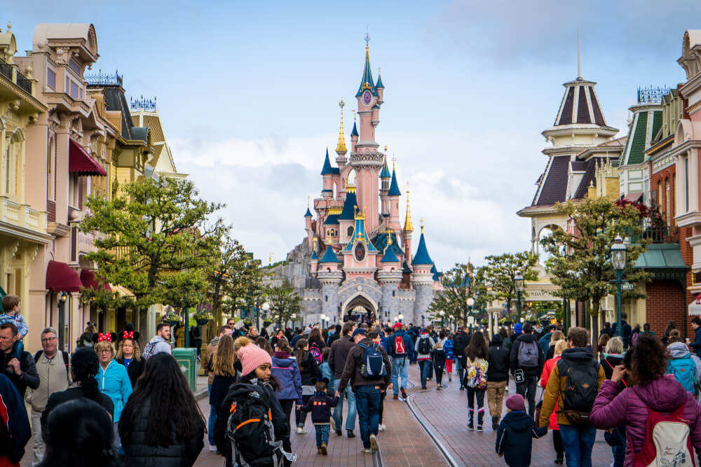 Main Street USA overlooking the Disneyland Paris castle at Disneyland Park in Marne la Vallee, France