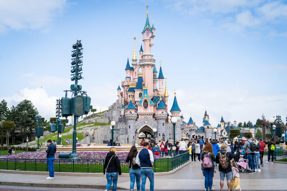 View from Main Street USA of Disneyland Paris castle at Disneyland Park in Marne la Vallee, France