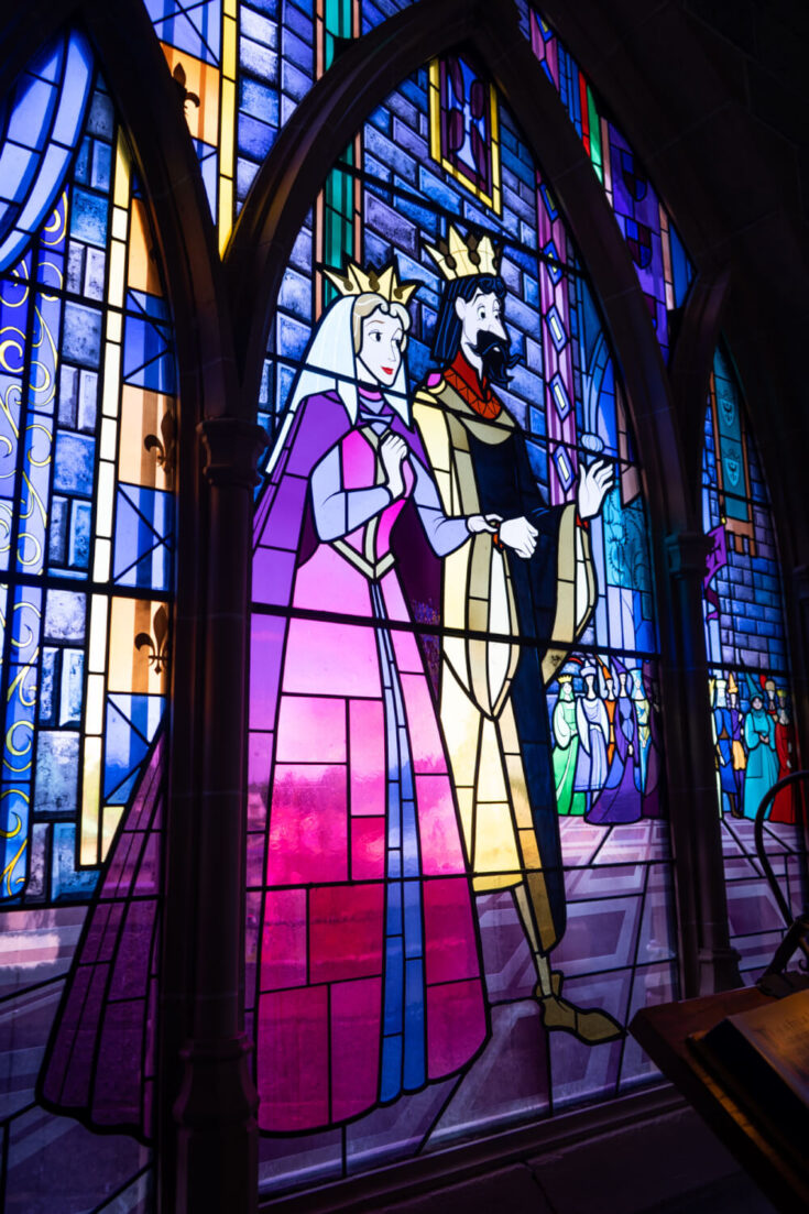 Stained glass inside the Disneyland Paris castle at Disneyland Park in Marne la Vallee, France