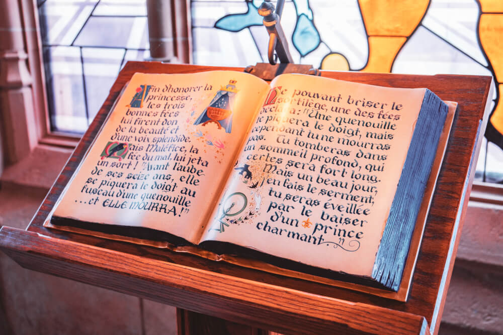 Storybook inside the Disneyland Paris castle at Disneyland Park in Marne la Vallee, France