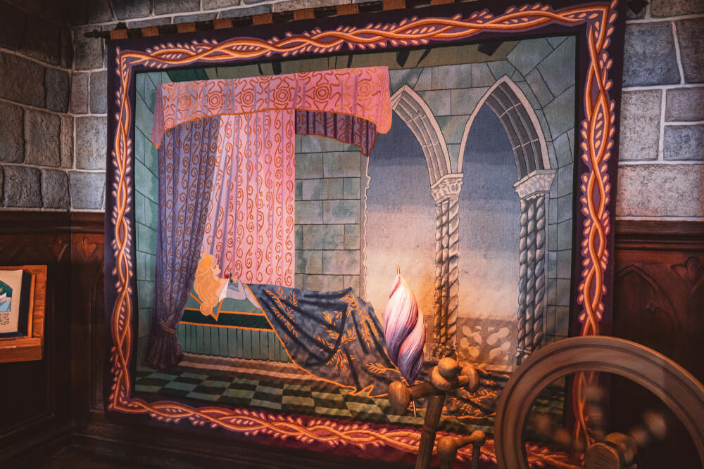 Tapestry inside the Disneyland Paris castle at Disneyland Park in Marne la Vallee, France