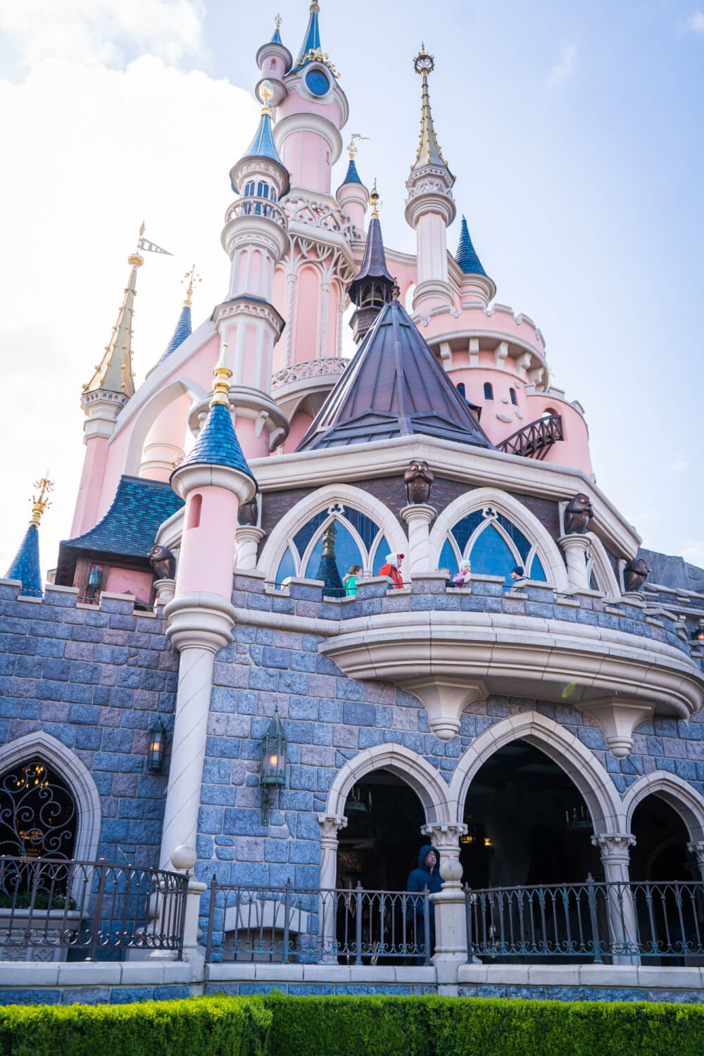 Exterior of the Disneyland Paris castle at Disneyland Park in Marne la Vallee, France