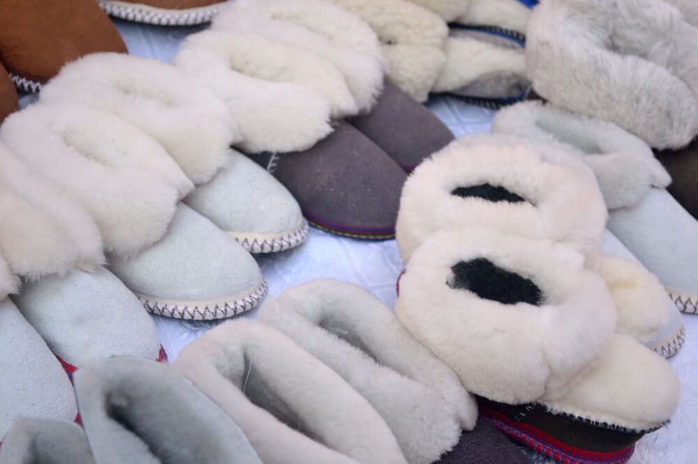 Soft sheepskin slippers at a German Christmas Market