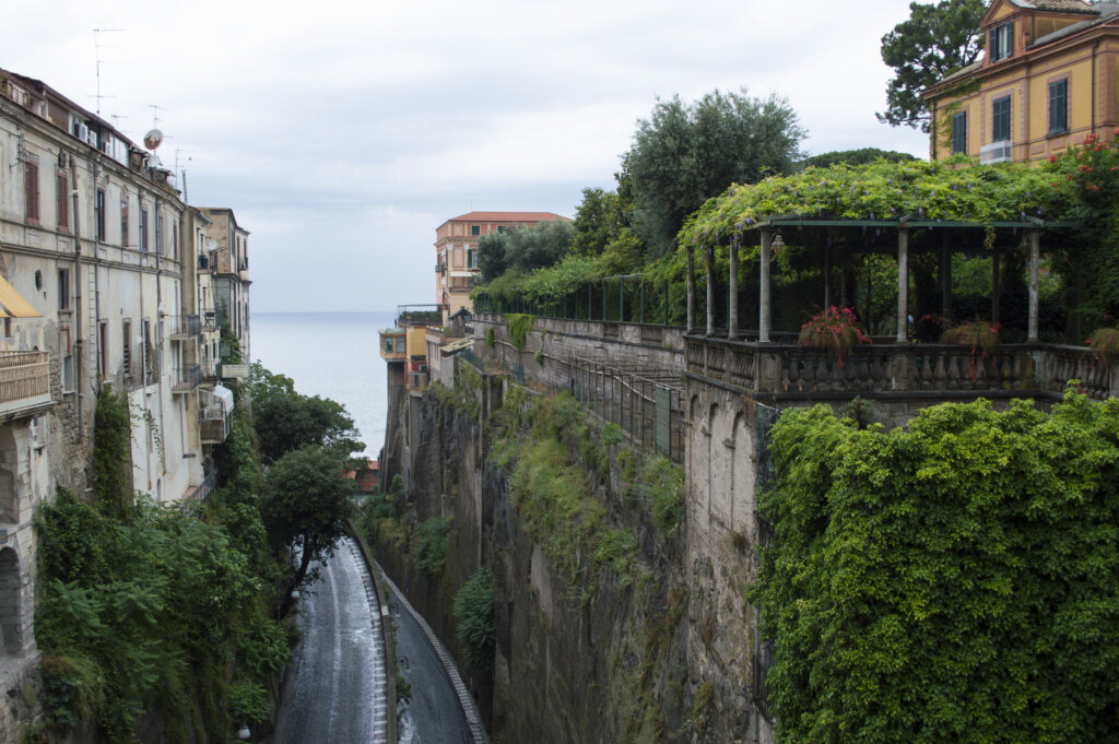 The view over Via Luigi de Maio from near Piazza Tasso in Sorrento, Italy
