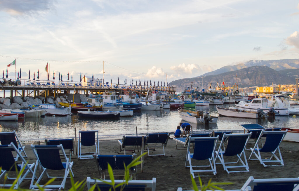 Sunset view from Soul and Fish in Sorrento, Italy
